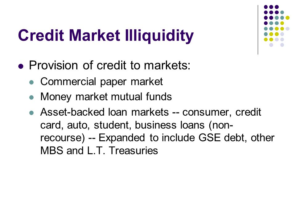 Credit Market Illiquidity Provision of credit to markets: Commercial paper market Money market mutual funds Asset-backed loan markets -- consumer, credit card, auto, student, business loans (non- recourse) -- Expanded to include GSE debt, other MBS and L.T.
