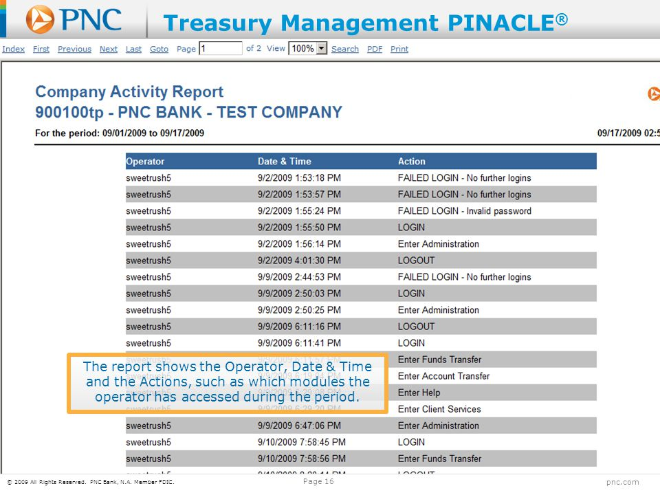 © 2009 All Rights Reserved. PNC Bank, N.A. Member FDIC. pnc.com Page 16 The report shows the Operator, Date & Time and the Actions, such as which modu