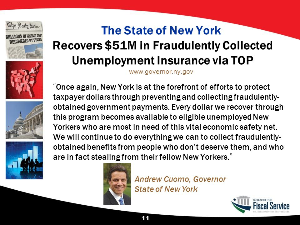 """The State of New York Recovers $51M in Fraudulently Collected Unemployment Insurance via TOP www.governor.ny.gov """"Once again, New York is at the foref"""