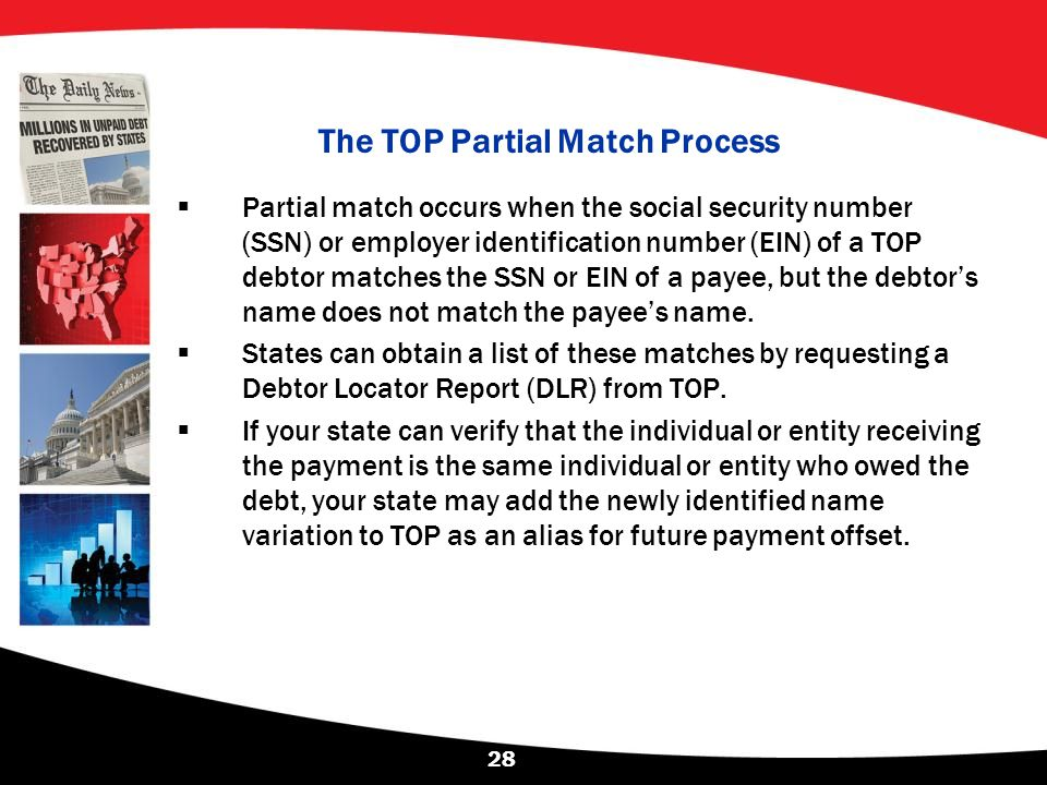 The TOP Partial Match Process  Partial match occurs when the social security number (SSN) or employer identification number (EIN) of a TOP debtor mat