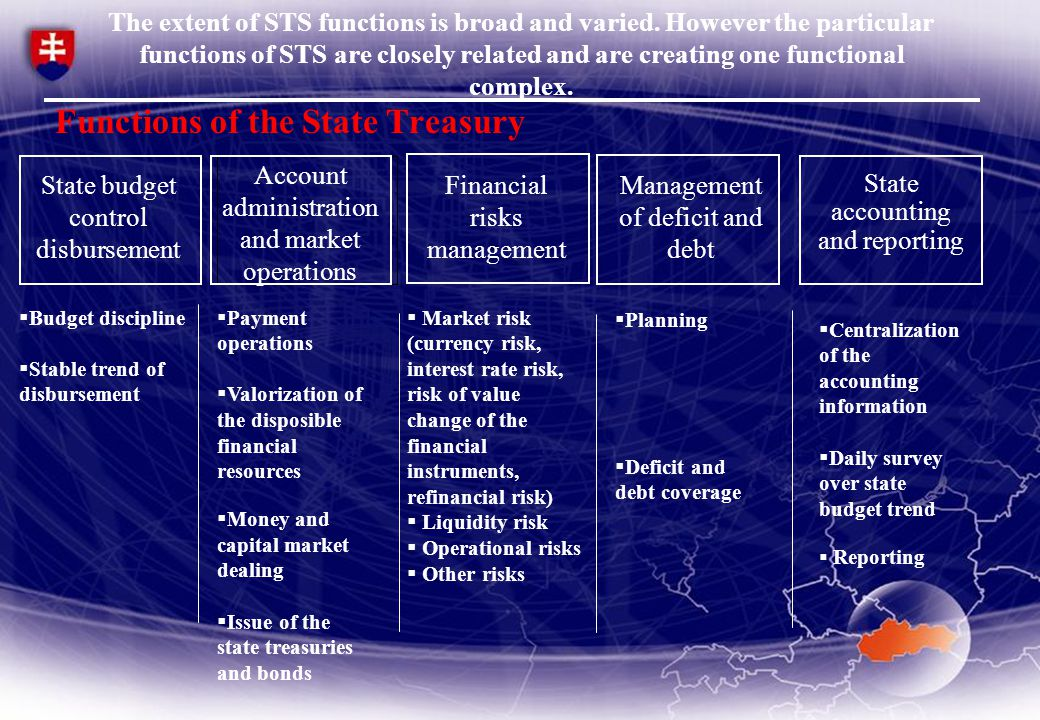STS is from the organizational aspect created by MF SR, State treasury and Debt and Liquidity management Agency.