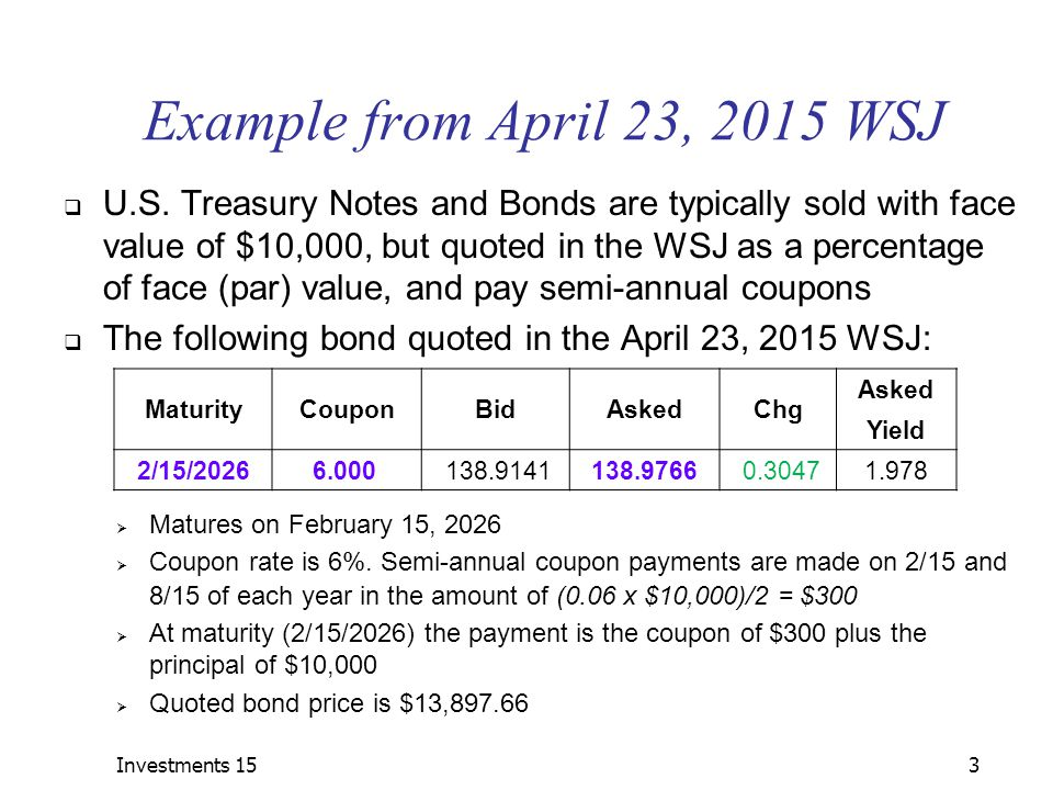 Investments 153 Example from April 23, 2015 WSJ  U.S.