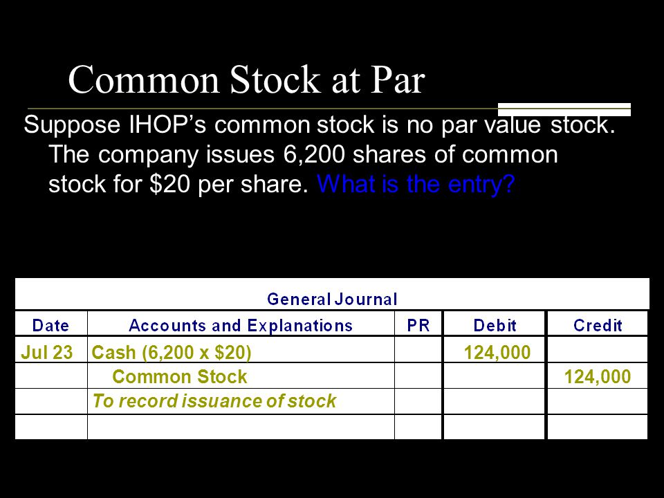 Common Stock at Par Suppose IHOP's common stock is no par value stock.