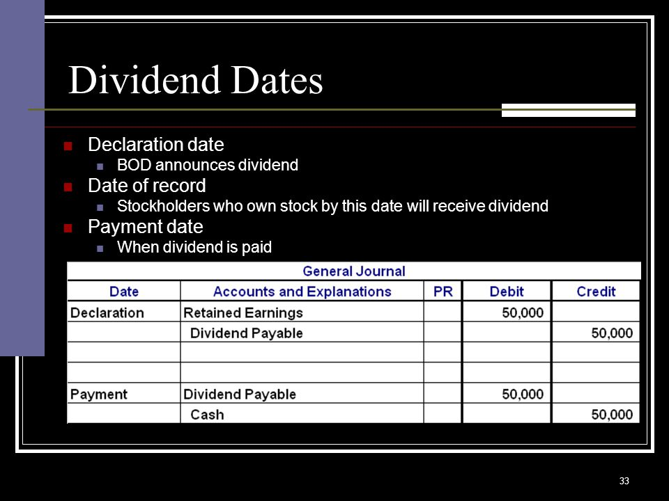 33 Dividend Dates Declaration date BOD announces dividend Date of record Stockholders who own stock by this date will receive dividend Payment date When dividend is paid