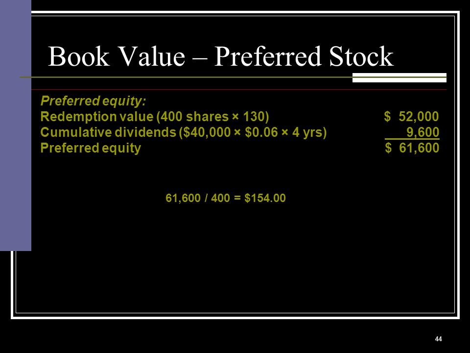 44 Book Value – Preferred Stock Preferred equity: Redemption value (400 shares × 130) $ 52,000 Cumulative dividends ($40,000 × $0.06 × 4 yrs) 9,600 Preferred equity $ 61,600 61,600 / 400 = $154.00