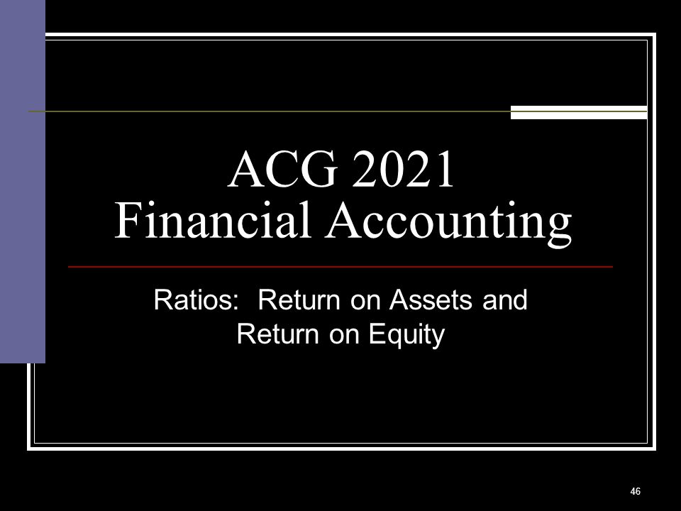 46 ACG 2021 Financial Accounting Ratios: Return on Assets and Return on Equity