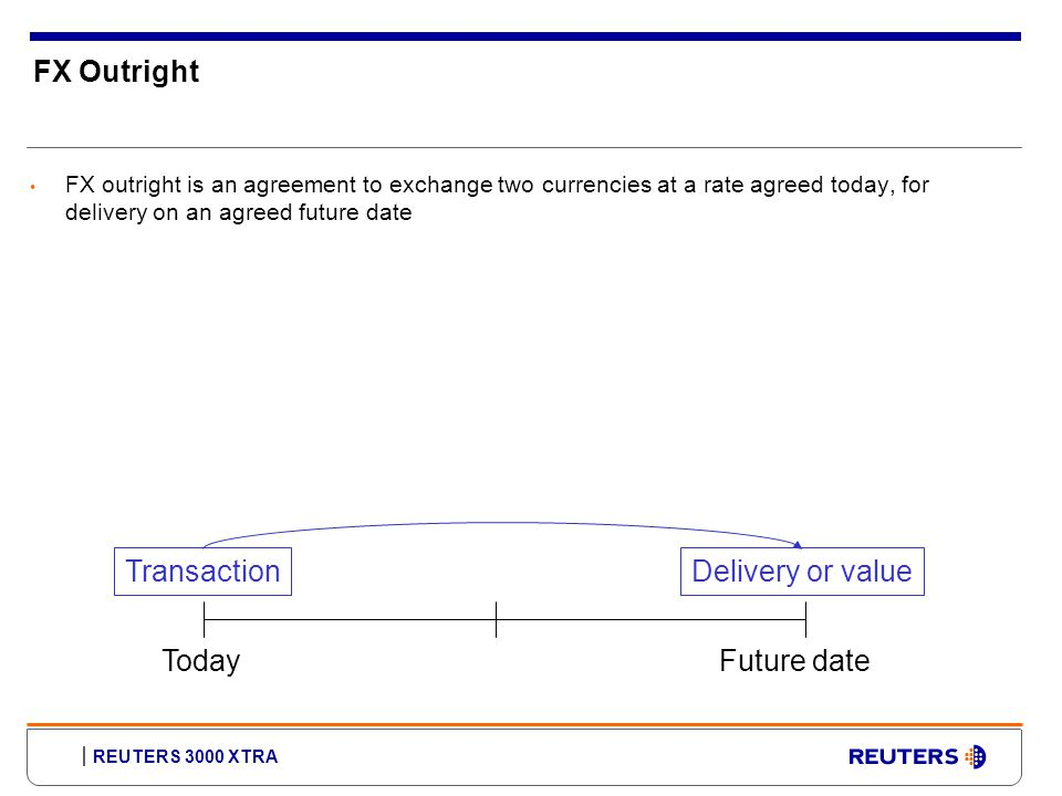 REUTERS 3000 XTRA FX Outright FX outright is an agreement to exchange two currencies at a rate agreed today, for delivery on an agreed future date TodayFuture date TransactionDelivery or value
