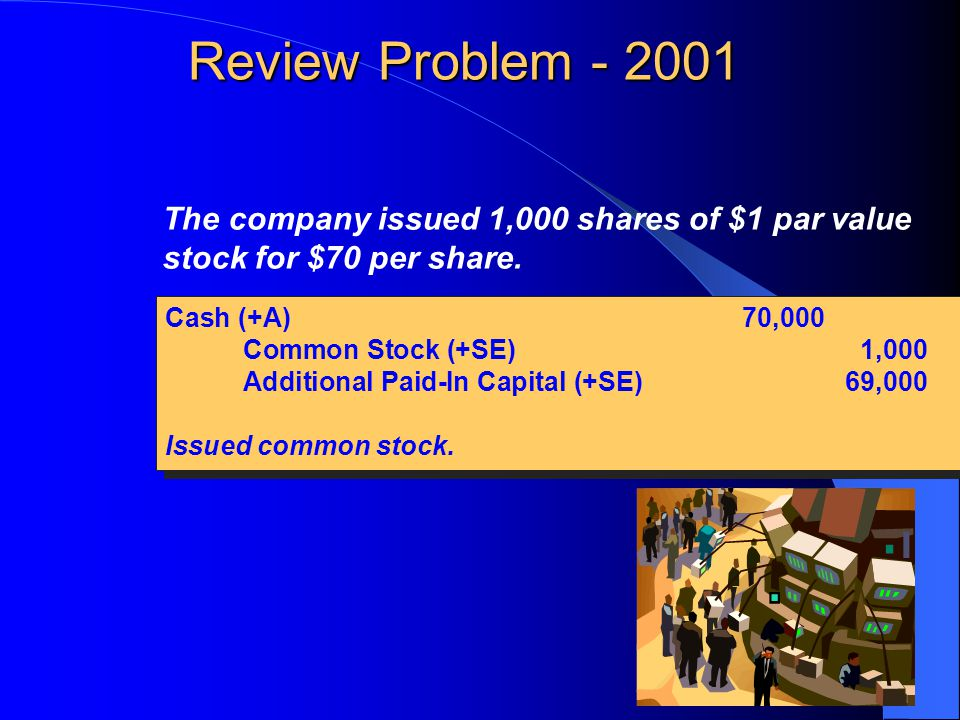 Review Problem - 2001 The company issued 1,000 shares of $1 par value stock for $70 per share.