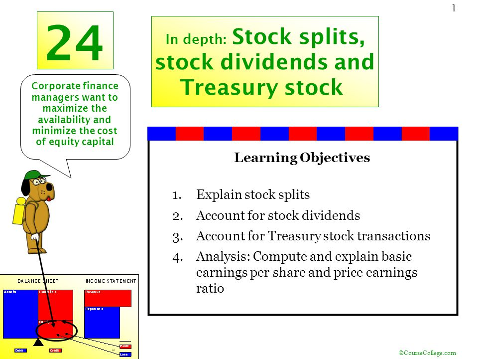 ©CourseCollege.com 1 24 In depth: Stock splits, stock dividends and Treasury stock Learning Objectives 1.Explain stock splits 2.Account for stock divi