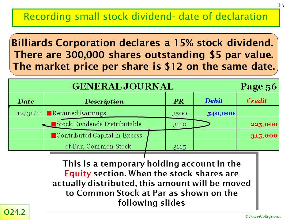 ©CourseCollege.com 15 Recording small stock dividend- date of declaration Billiards Corporation declares a 15% stock dividend.