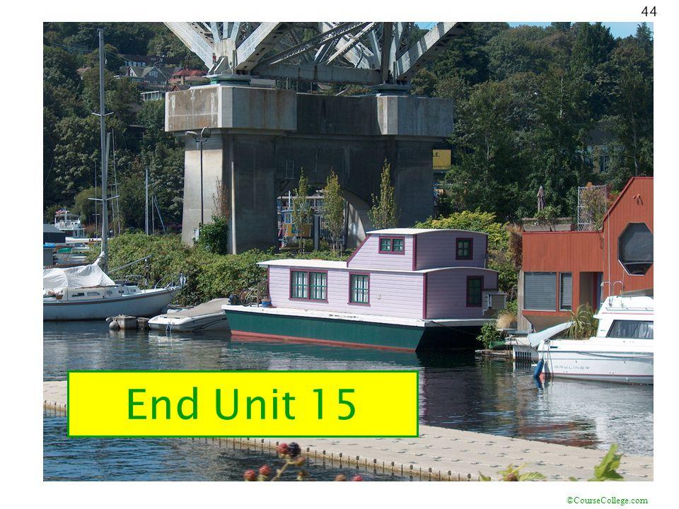 ©CourseCollege.com 44 End Unit 15