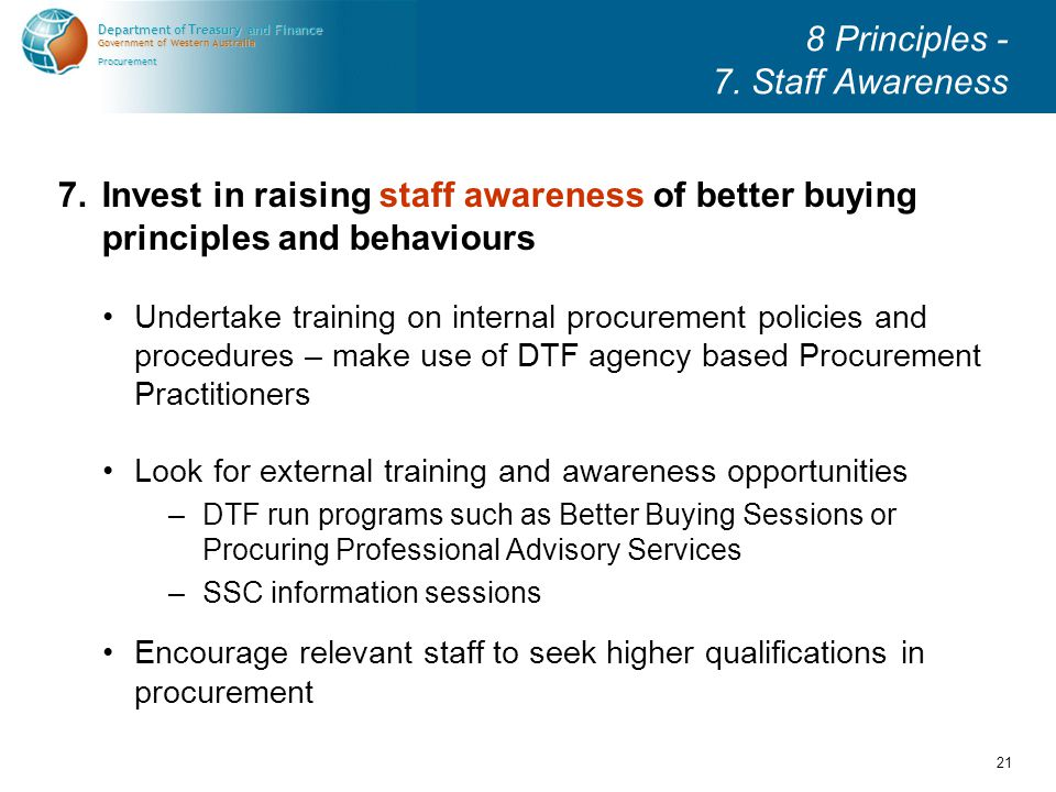 Government of Western Australia Department of Treasury and Finance Procurement 21 8 Principles - 7.