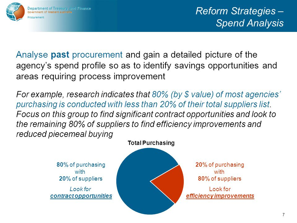 Government of Western Australia Department of Treasury and Finance Procurement 8 Reform Strategies – Procurement Planning Analyse future procurement (at the branch or cost centre level) so as to adopt a better planned, coordinated and aggregated approach to intended future procurement.