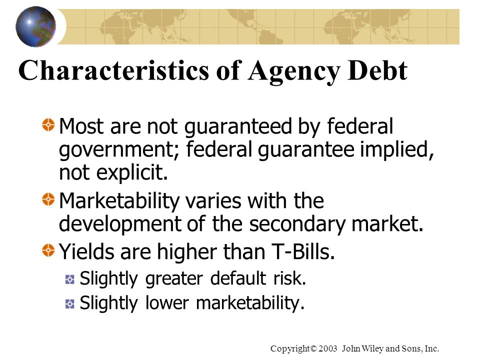 Copyright© 2003 John Wiley and Sons, Inc. Characteristics of Agency Debt Most are not guaranteed by federal government; federal guarantee implied, not