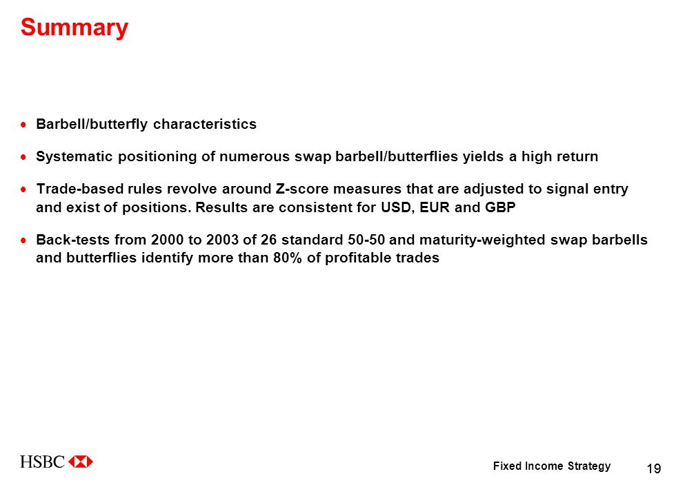 Fixed Income Strategy 19 Summary  Barbell/butterfly characteristics  Systematic positioning of numerous swap barbell/butterflies yields a high return  Trade-based rules revolve around Z-score measures that are adjusted to signal entry and exist of positions.