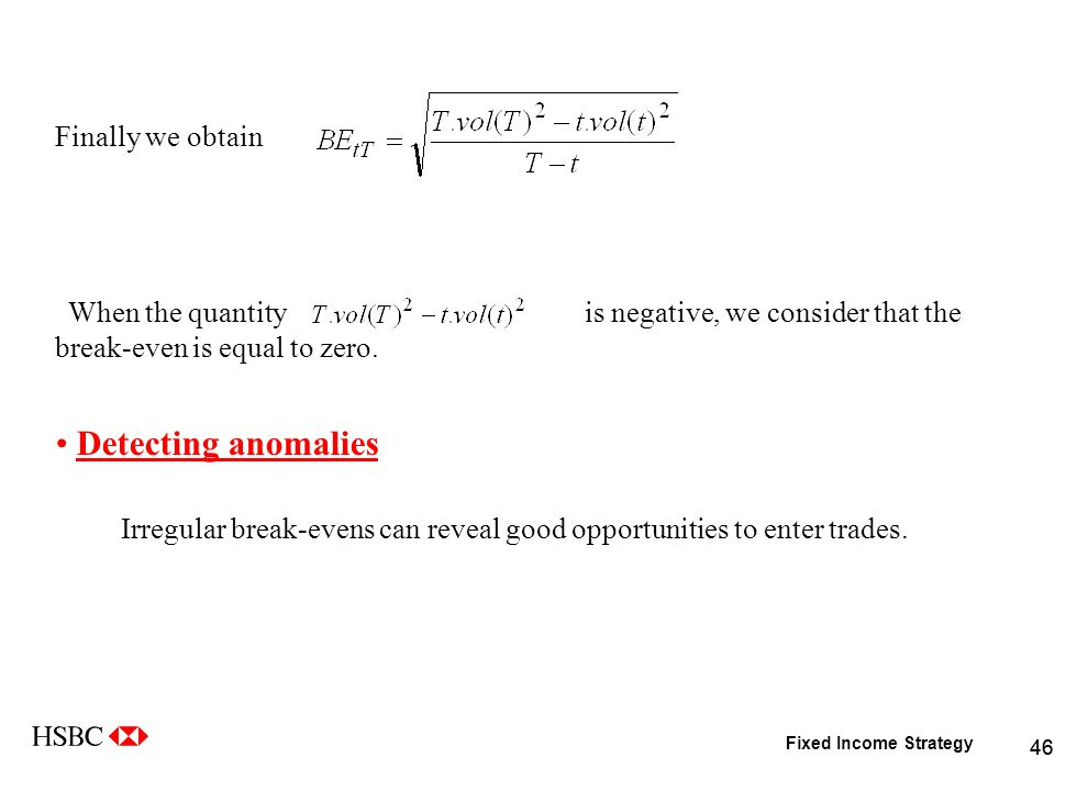 Fixed Income Strategy 46 Finally we obtain When the quantity is negative, we consider that the break-even is equal to zero.