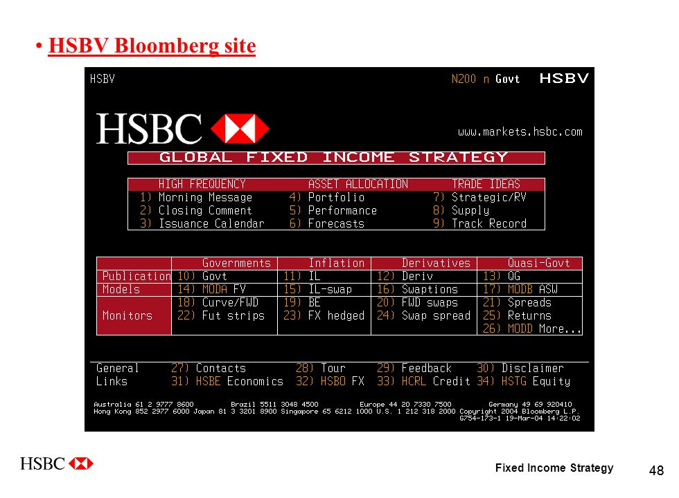 Fixed Income Strategy 48 HSBV Bloomberg site