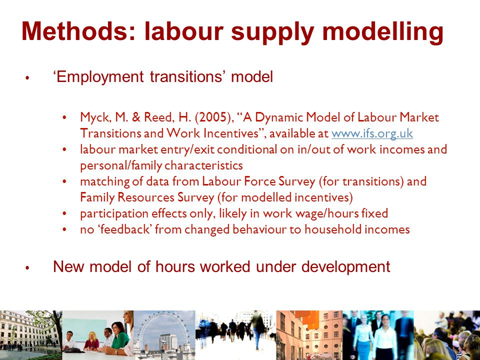 Experience: model maintenance Challenge of developing and maintaining 'complex' models: detailed tax-benefit rules and maintenance estimation of behavioural models 5-year period with 'out-of-house' model maintenance and development Some points to watch: became less critical model users 'ready-to-use' tools not always sufficiently flexible