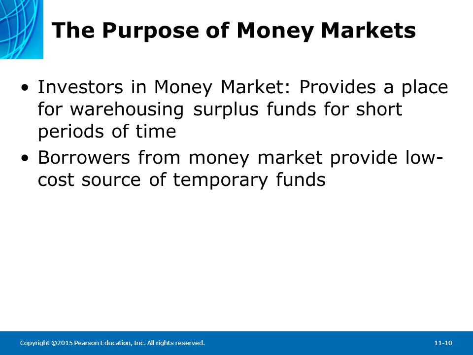 Copyright ©2015 Pearson Education, Inc. All rights reserved.11-10 The Purpose of Money Markets Investors in Money Market: Provides a place for warehou
