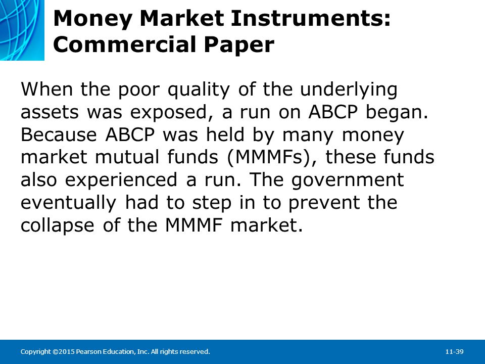 Copyright ©2015 Pearson Education, Inc. All rights reserved.11-39 Money Market Instruments: Commercial Paper When the poor quality of the underlying a