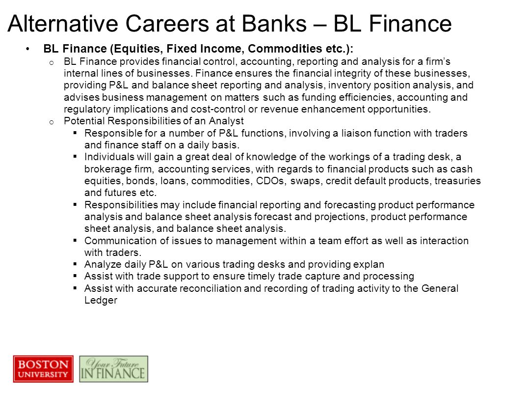 Alternative Careers at Banks – BL Finance BL Finance (Equities, Fixed Income, Commodities etc.): o BL Finance provides financial control, accounting, reporting and analysis for a firm's internal lines of businesses.