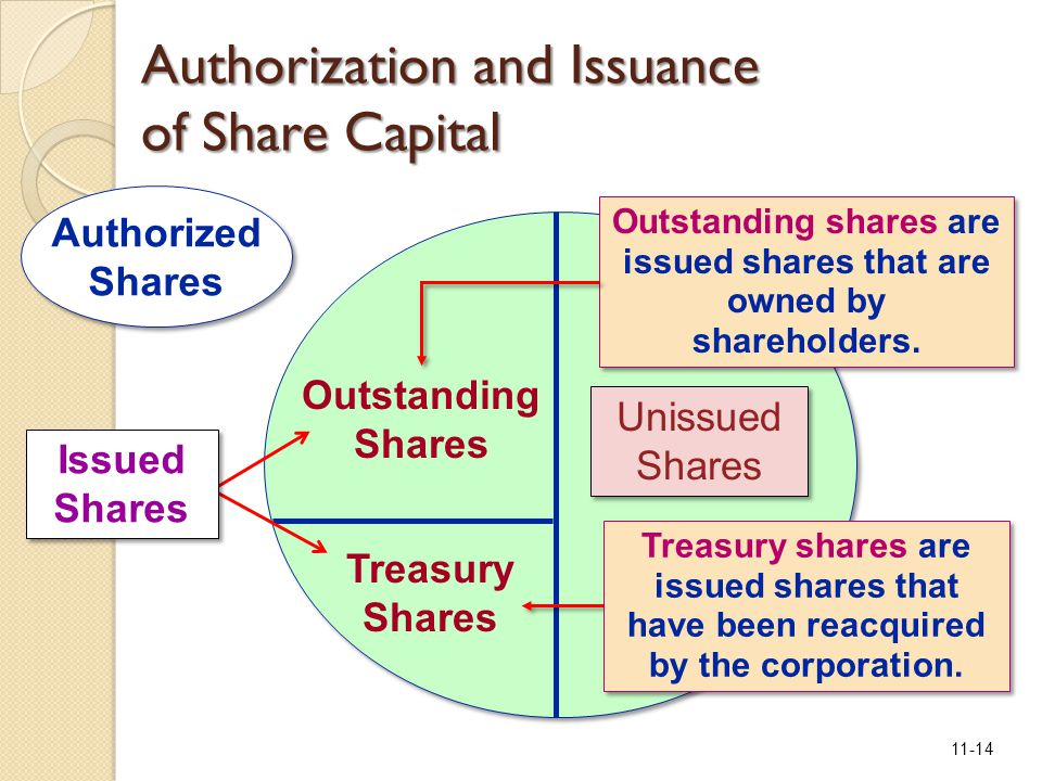 11-14 Unissued Shares Unissued Shares Treasury Shares Outstanding Shares Treasury shares are issued shares that have been reacquired by the corporatio