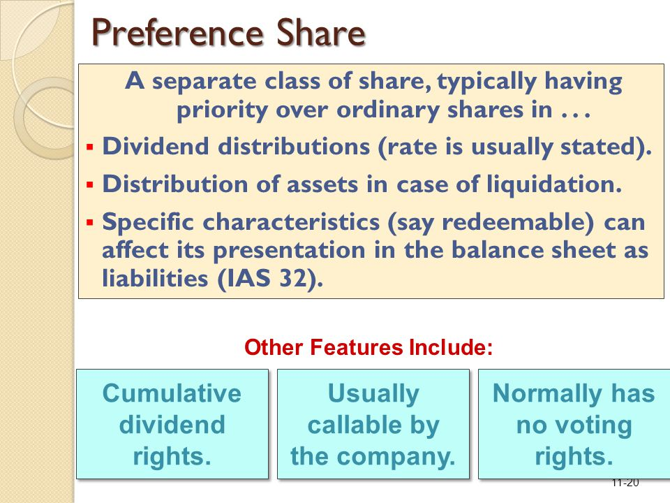 11-20 Preference Share A separate class of share, typically having priority over ordinary shares in...