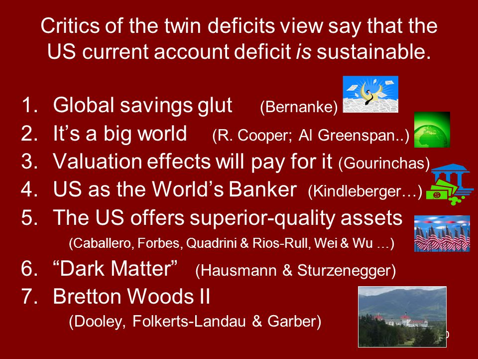 40 Critics of the twin deficits view say that the US current account deficit is sustainable.