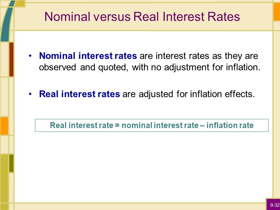 9-32 Nominal versus Real Interest Rates Nominal interest rates are interest rates as they are observed and quoted, with no adjustment for inflation.