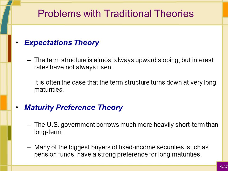 9-37 Problems with Traditional Theories Expectations Theory –The term structure is almost always upward sloping, but interest rates have not always risen.