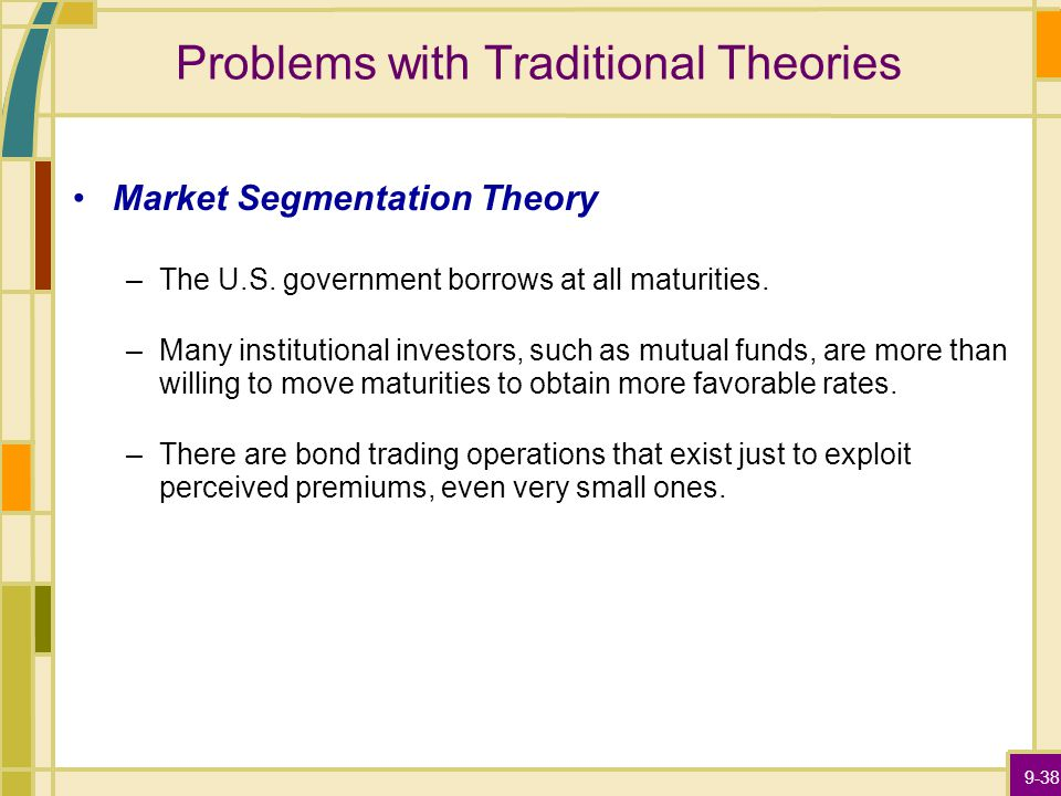 9-38 Problems with Traditional Theories Market Segmentation Theory –The U.S.