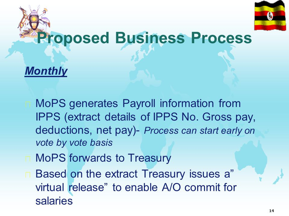 14 Proposed Business Process Monthly  MoPS generates Payroll information from IPPS (extract details of IPPS No.
