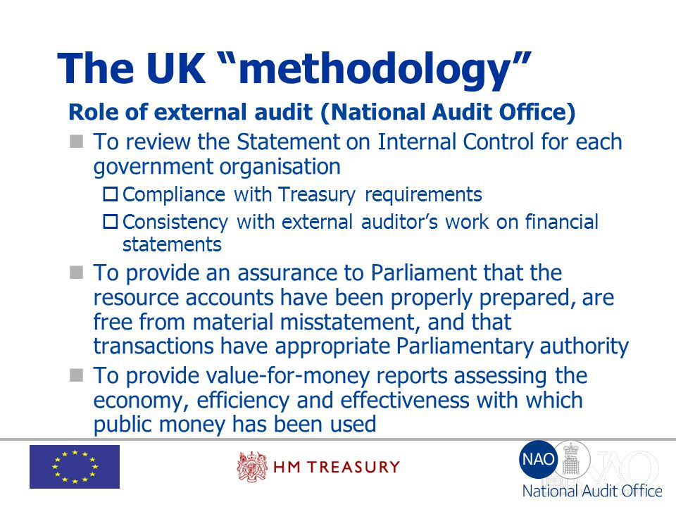 """The UK """"methodology"""" Role of external audit (National Audit Office) To review the Statement on Internal Control for each government organisation  Com"""