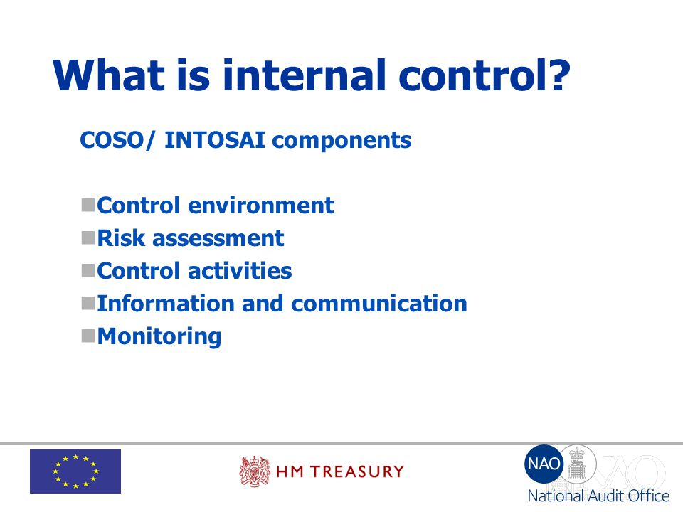 What is internal control? COSO/ INTOSAI components Control environment Risk assessment Control activities Information and communication Monitoring