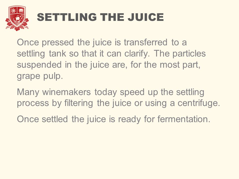 SETTLING THE JUICE Once pressed the juice is transferred to a settling tank so that it can clarify. The particles suspended in the juice are, for the