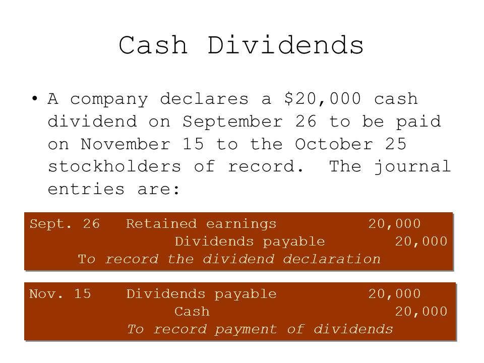 Cash Dividends A company declares a $20,000 cash dividend on September 26 to be paid on November 15 to the October 25 stockholders of record. The jour