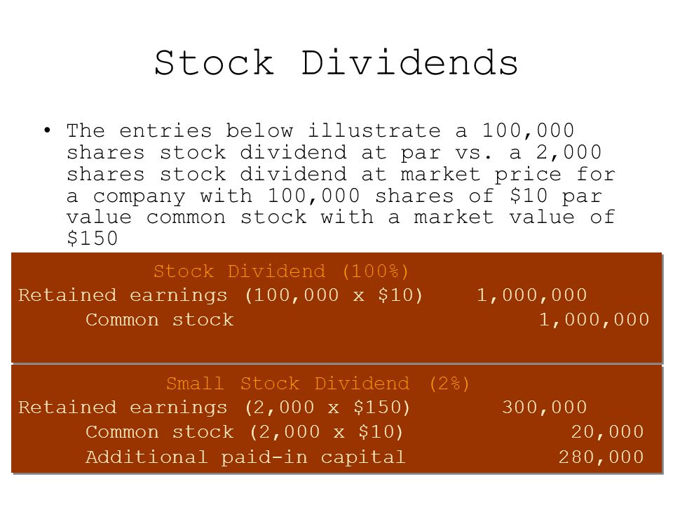 Stock Dividends The entries below illustrate a 100,000 shares stock dividend at par vs. a 2,000 shares stock dividend at market price for a company wi