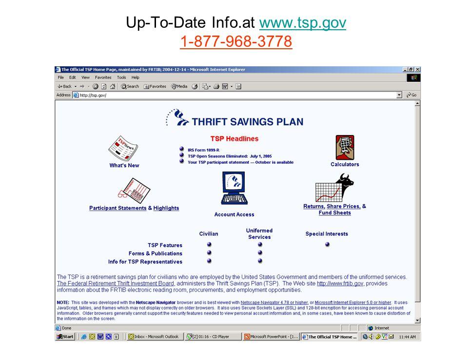 Up-To-Date Info.at www.tsp.gov 1-877-968-3778www.tsp.gov