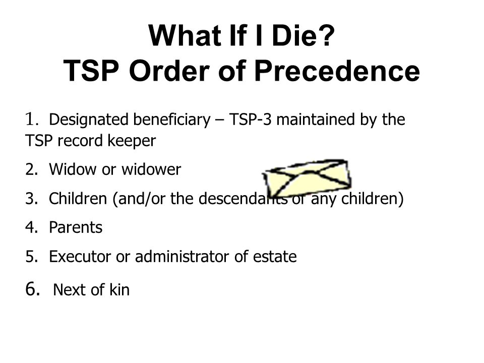 What If I Die. TSP Order of Precedence 1.