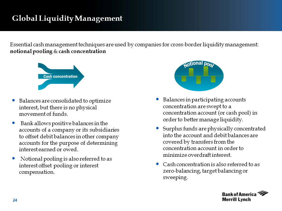 24 Essential cash management techniques are used by companies for cross-border liquidity management: notional pooling & cash concentration Balances in