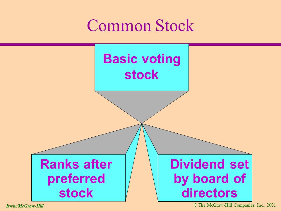 © The McGraw-Hill Companies, Inc., 2001 Irwin/McGraw-Hill Common Stock Basic voting stock Ranks after preferred stock Dividend set by board of directors