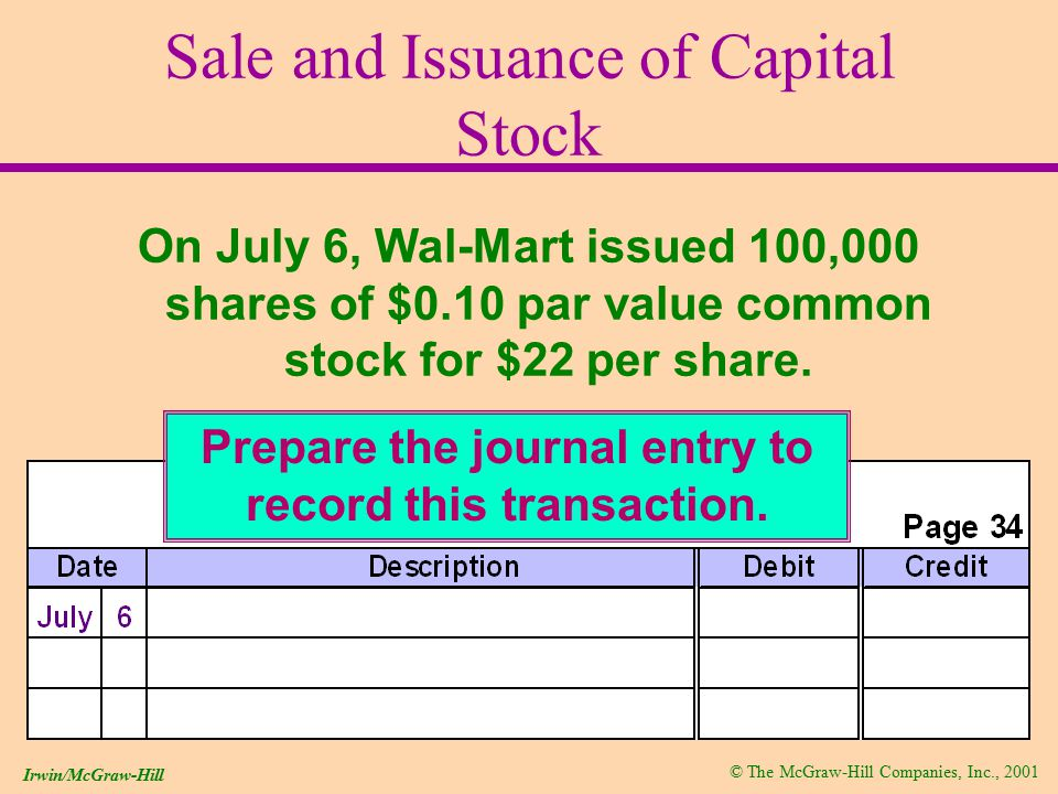© The McGraw-Hill Companies, Inc., 2001 Irwin/McGraw-Hill Sale and Issuance of Capital Stock On July 6, Wal-Mart issued 100,000 shares of $0.10 par value common stock for $22 per share.