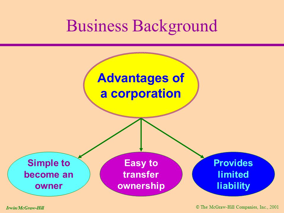 © The McGraw-Hill Companies, Inc., 2001 Irwin/McGraw-Hill Business Background Because a corporation is a separate legal entity, it can...
