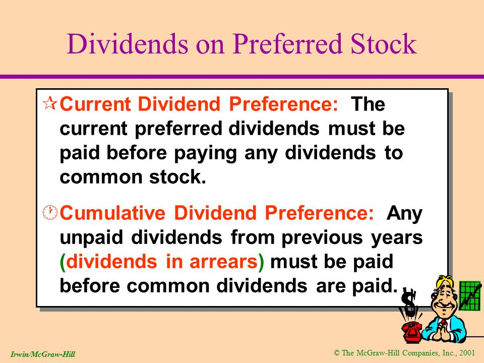 © The McGraw-Hill Companies, Inc., 2001 Irwin/McGraw-Hill Dividends on Preferred Stock ¶Current Dividend Preference: The current preferred dividends must be paid before paying any dividends to common stock.