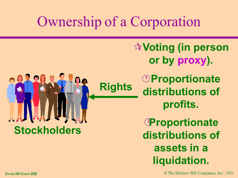 © The McGraw-Hill Companies, Inc., 2001 Irwin/McGraw-Hill Accounting for Stock Dividends (Saving cash) Distribution of additional shares of stock to stockholders(less than 25%).