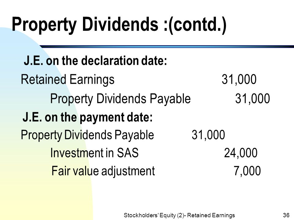 Stockholders' Equity (2)- Retained Earnings35 Property Dividends :(contd.) n The market value of Welch stock is $31,000 on 3/15/x5. The following entr