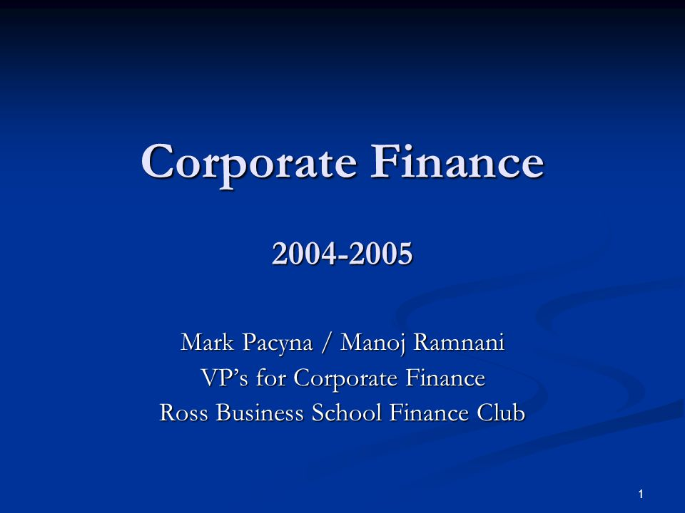 2 What is Corporate Finance.