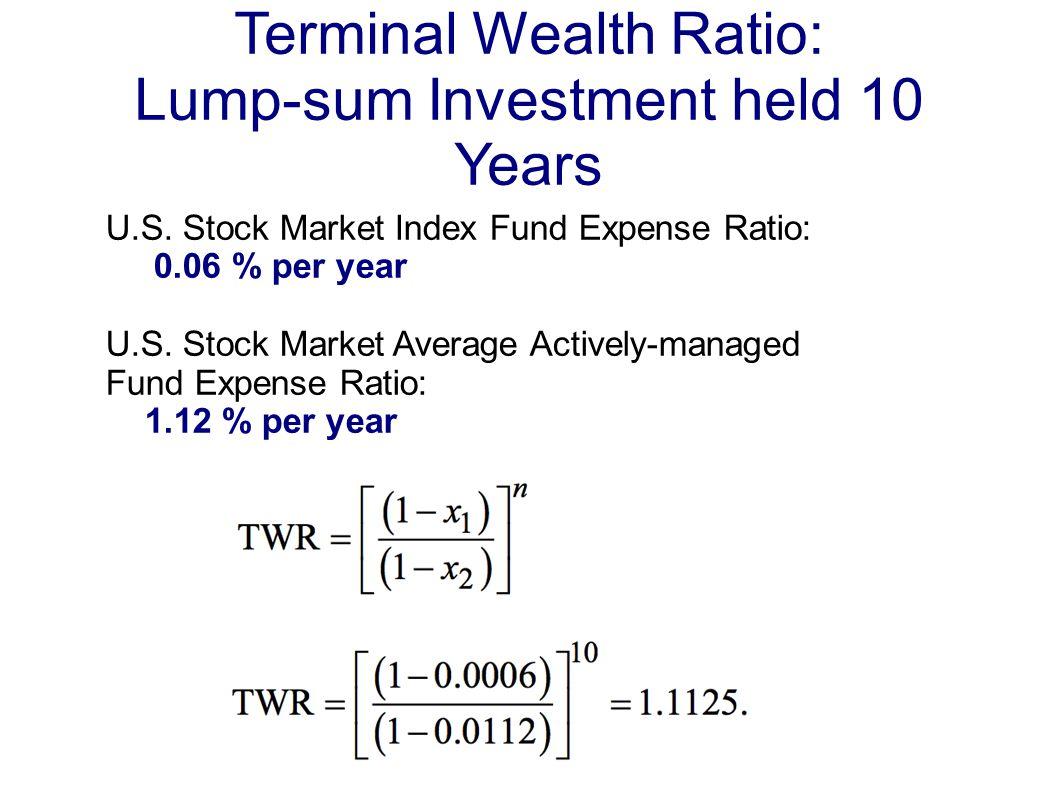 Terminal Wealth Ratio: Lump-sum Investment held 10 Years U.S.