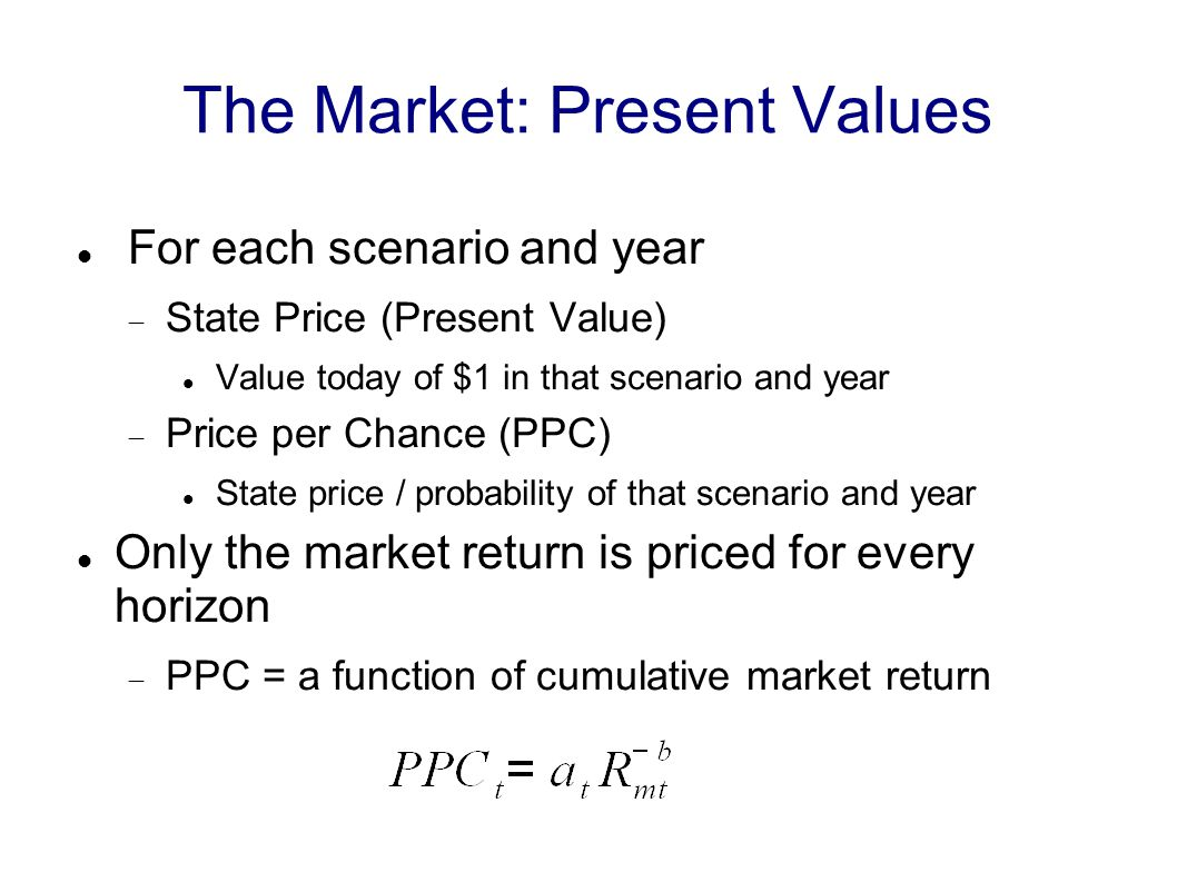 The Market: Present Values For each scenario and year  State Price (Present Value) Value today of $1 in that scenario and year  Price per Chance (PPC) State price / probability of that scenario and year Only the market return is priced for every horizon  PPC = a function of cumulative market return