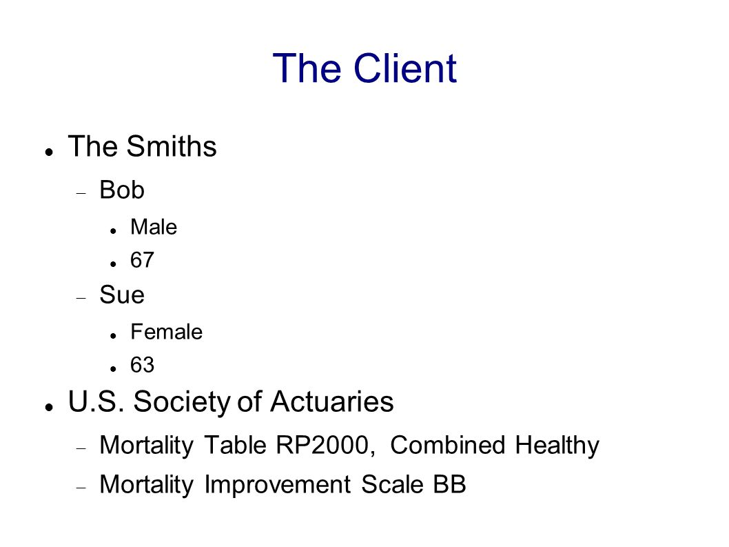The Client The Smiths  Bob Male 67  Sue Female 63 U.S. Society of Actuaries  Mortality Table RP2000, Combined Healthy  Mortality Improvement Scale